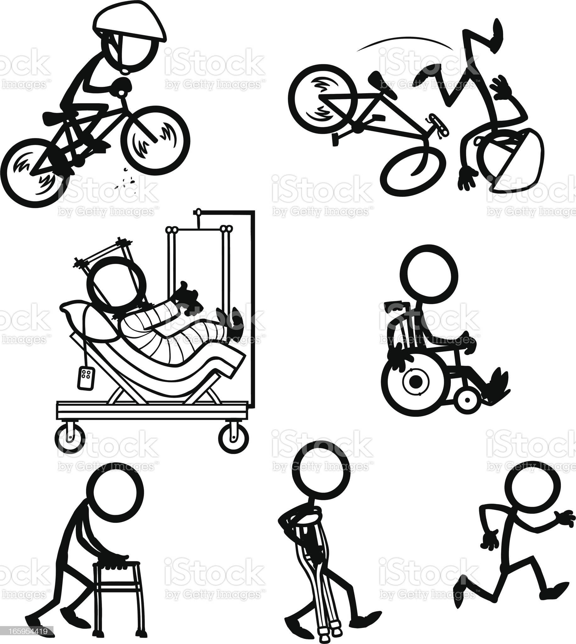 Stick Figure People Bike Accident Recovery royalty-free stock vector art
