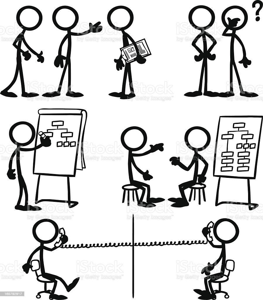 Stick Figure People Business Strategy vector art illustration