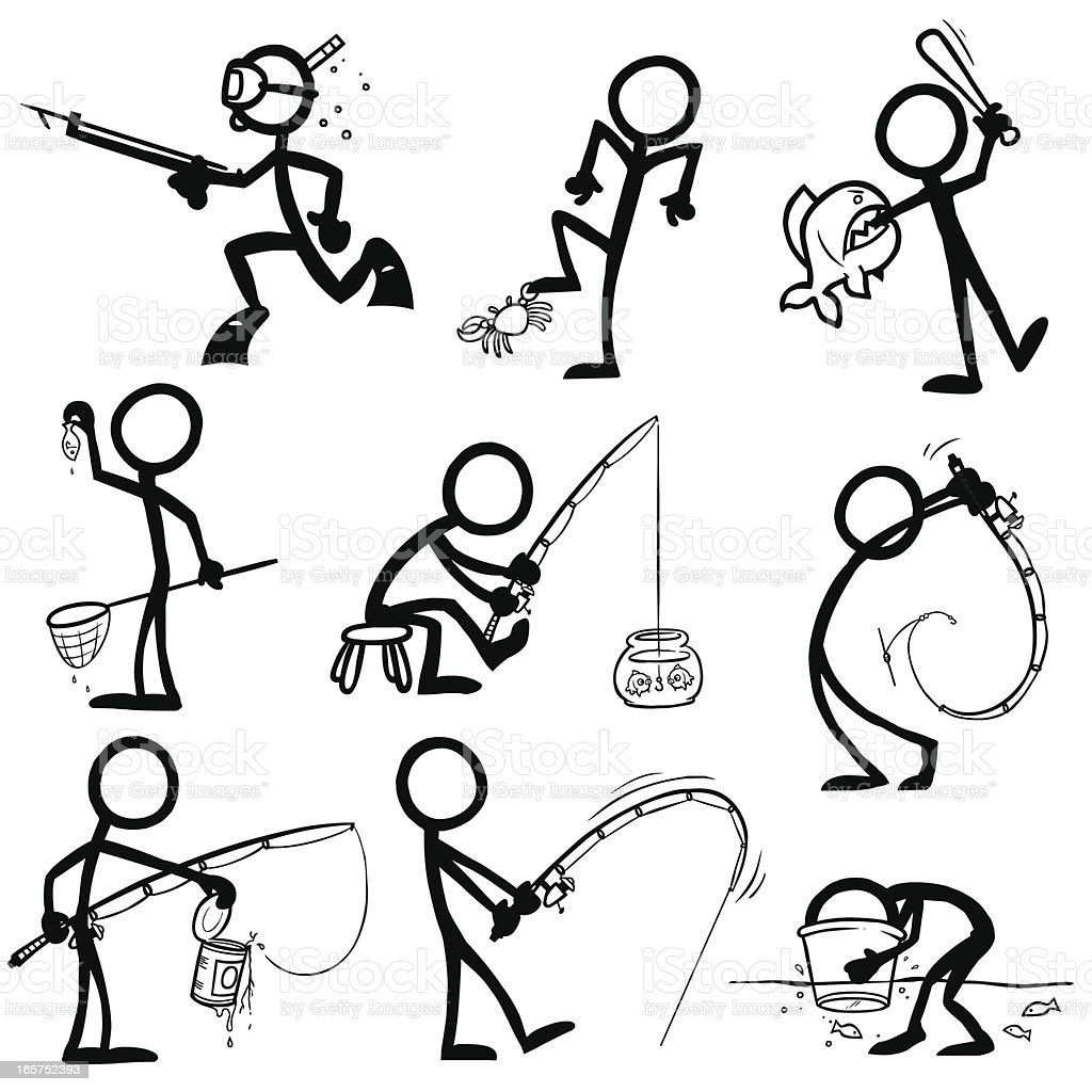 Stick figure people fishing stock vector art 165752393 for Free line fishing