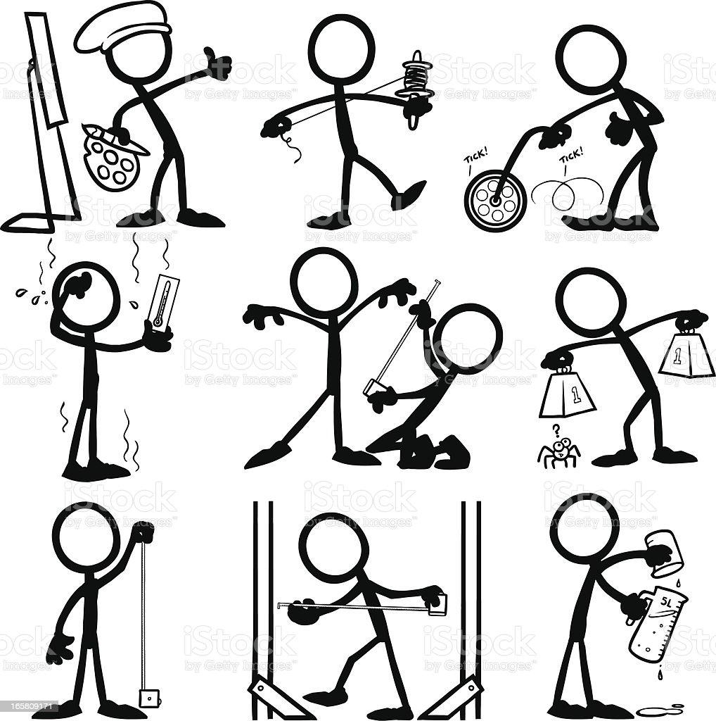 Stick Figure People Measuring royalty-free stock vector art