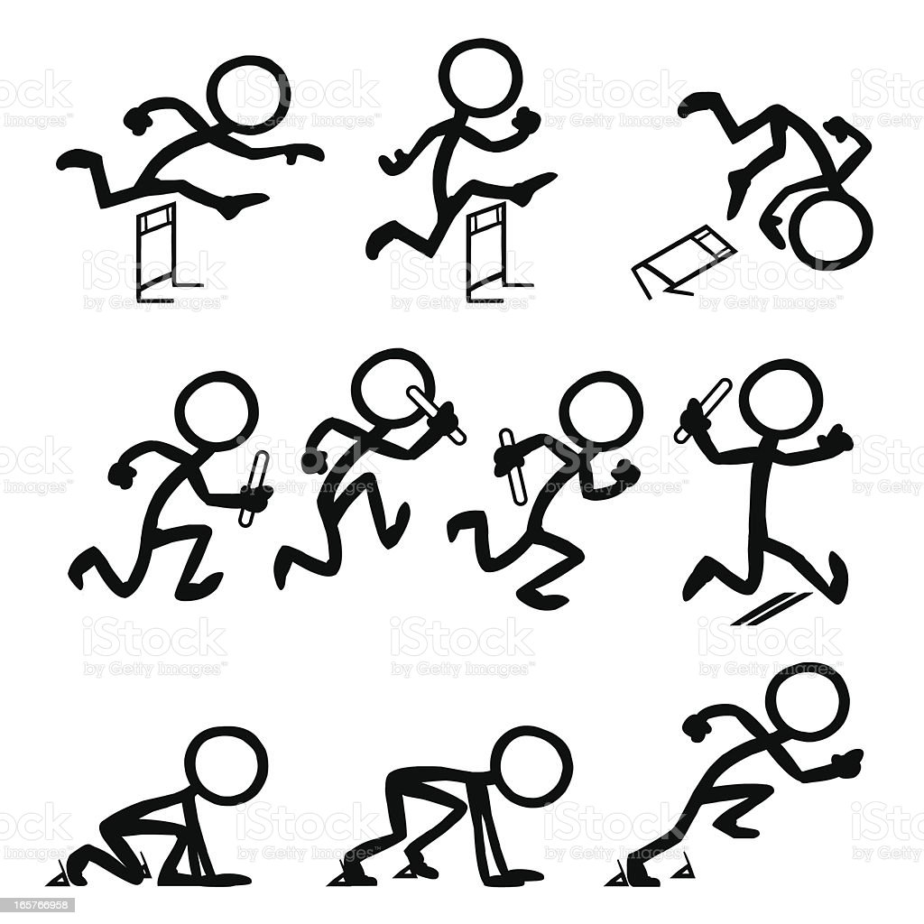 Stick Figure People Olympic Running royalty-free stock vector art