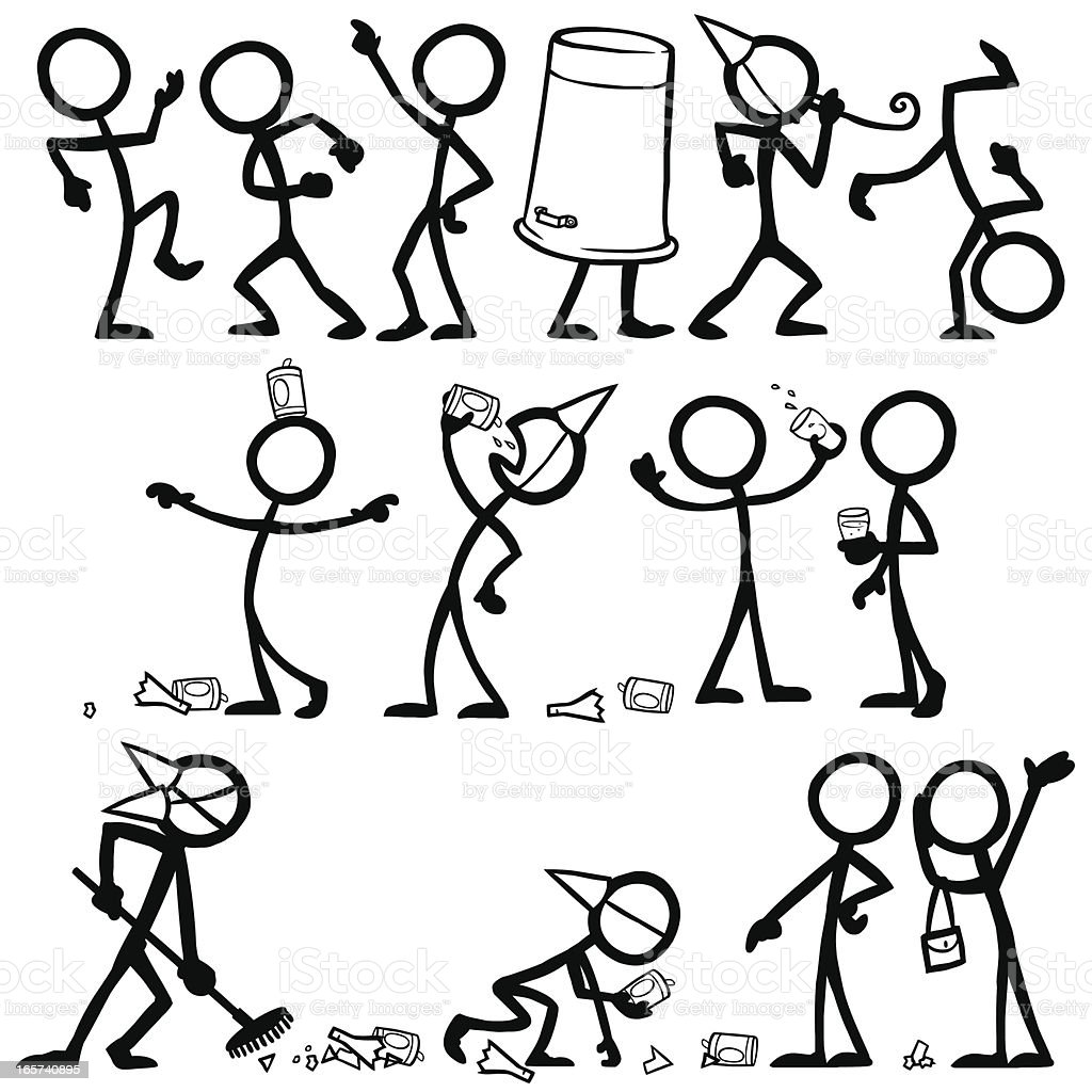 Stick Figure People Party vector art illustration