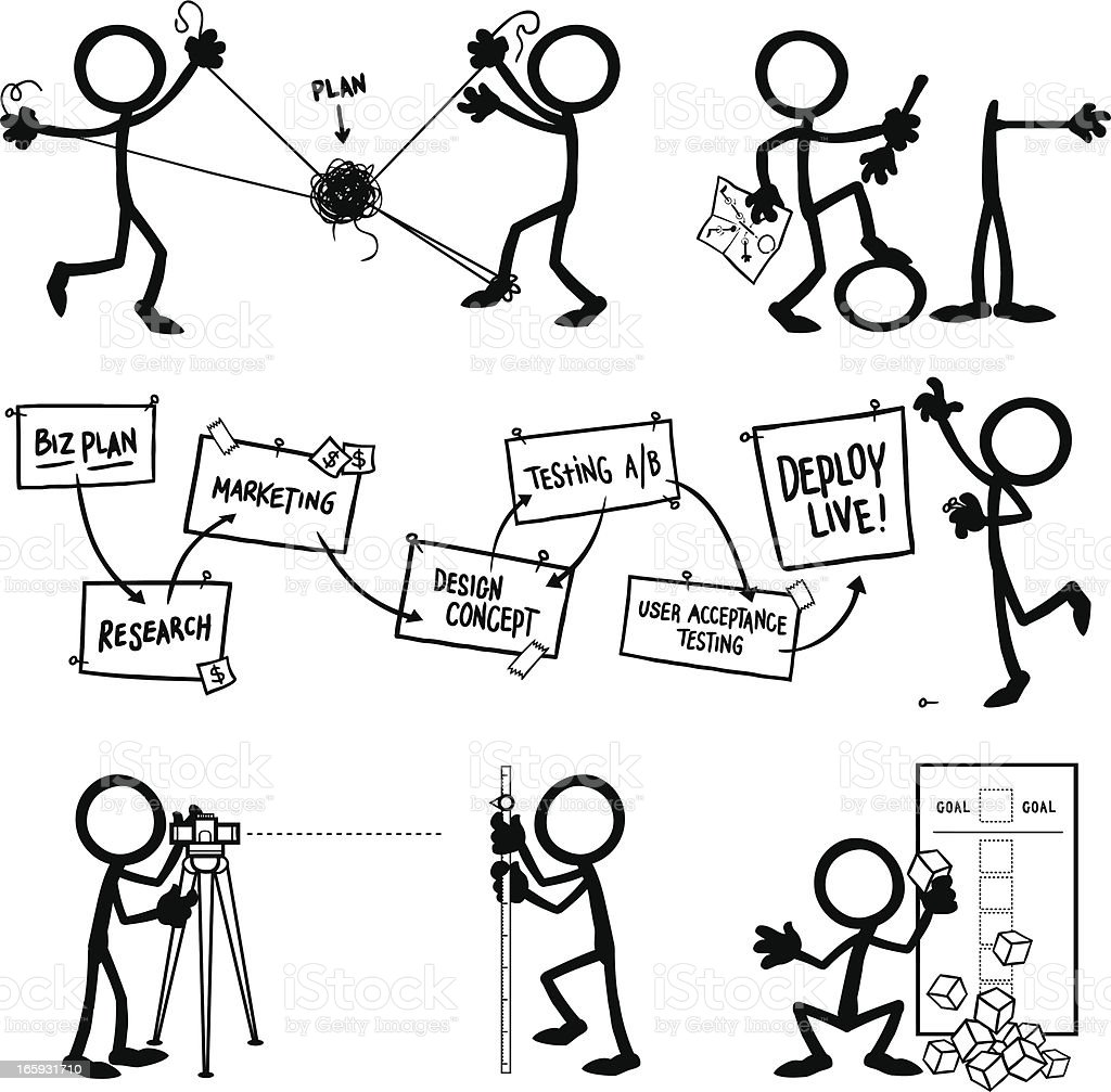 Stick Figure People Planning royalty-free stock vector art