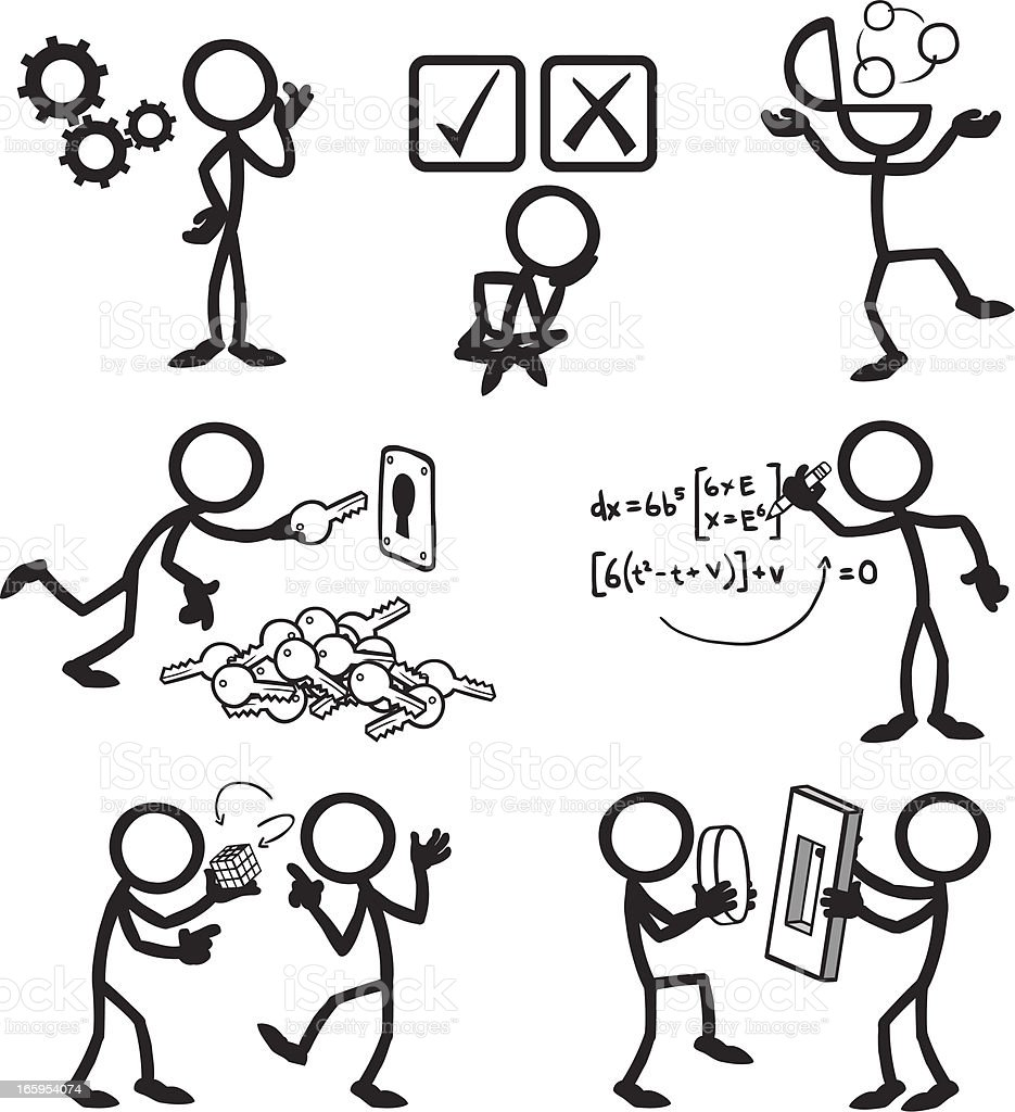Stick Figure People Problem Solving royalty-free stock vector art