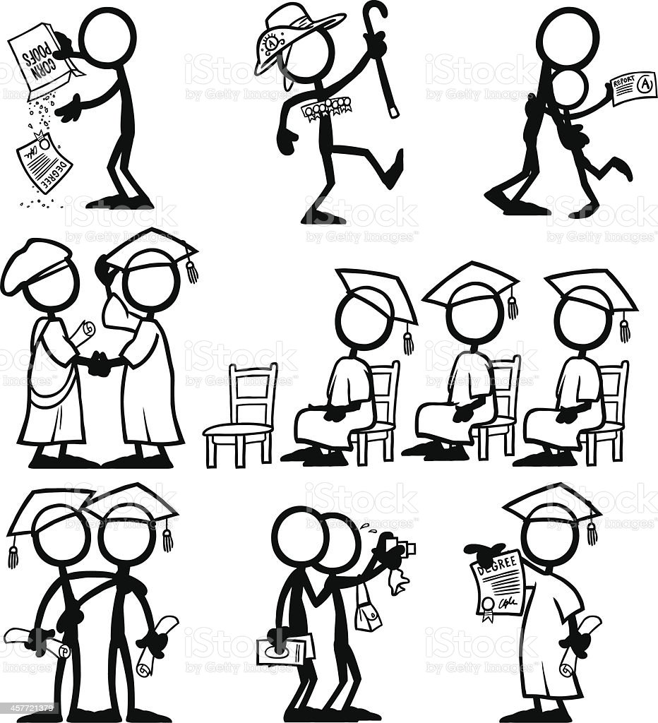 Stick Figure People Qualification royalty-free stock vector art