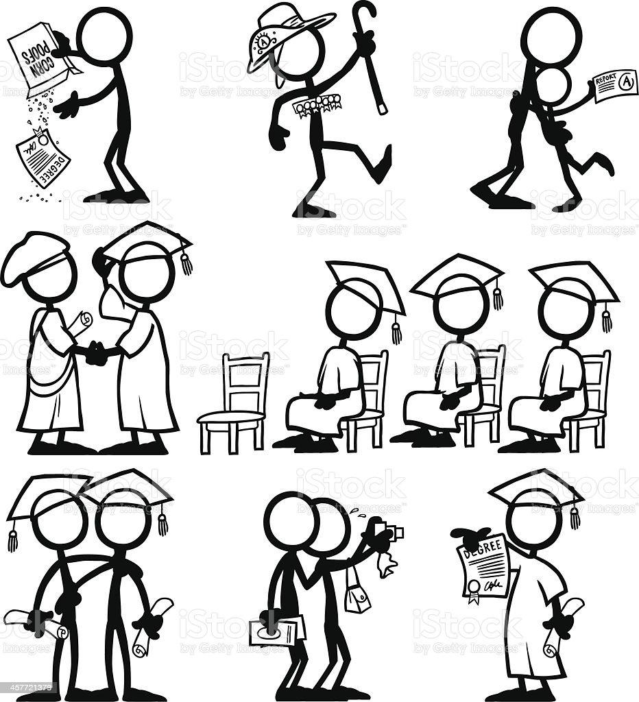 Stick Figure People Qualification vector art illustration