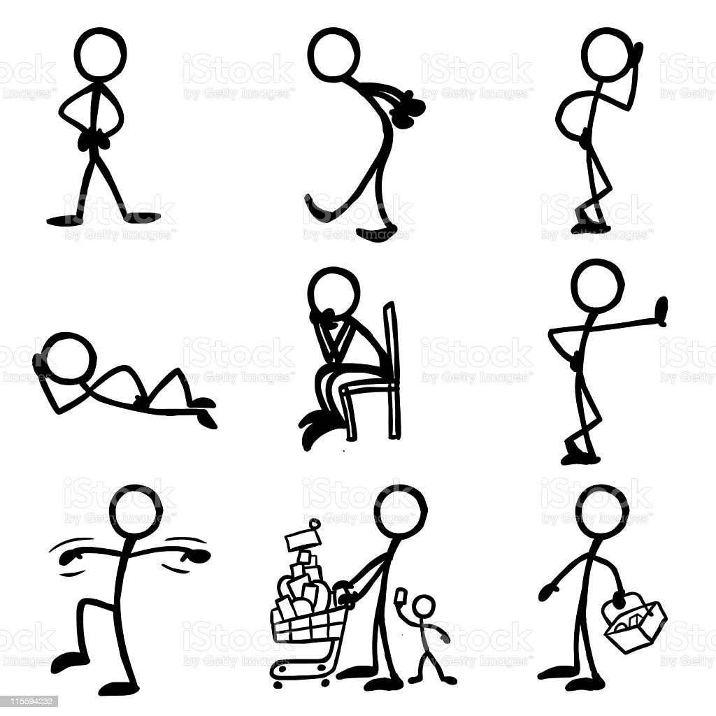 Stick Figure People Waiting royalty-free stock vector art
