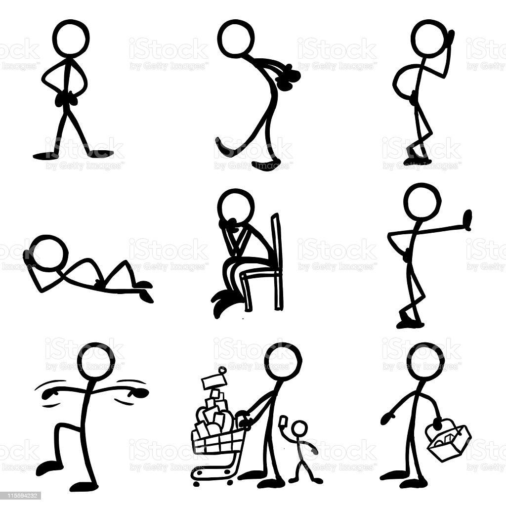 Stick Figure People Waiting vector art illustration
