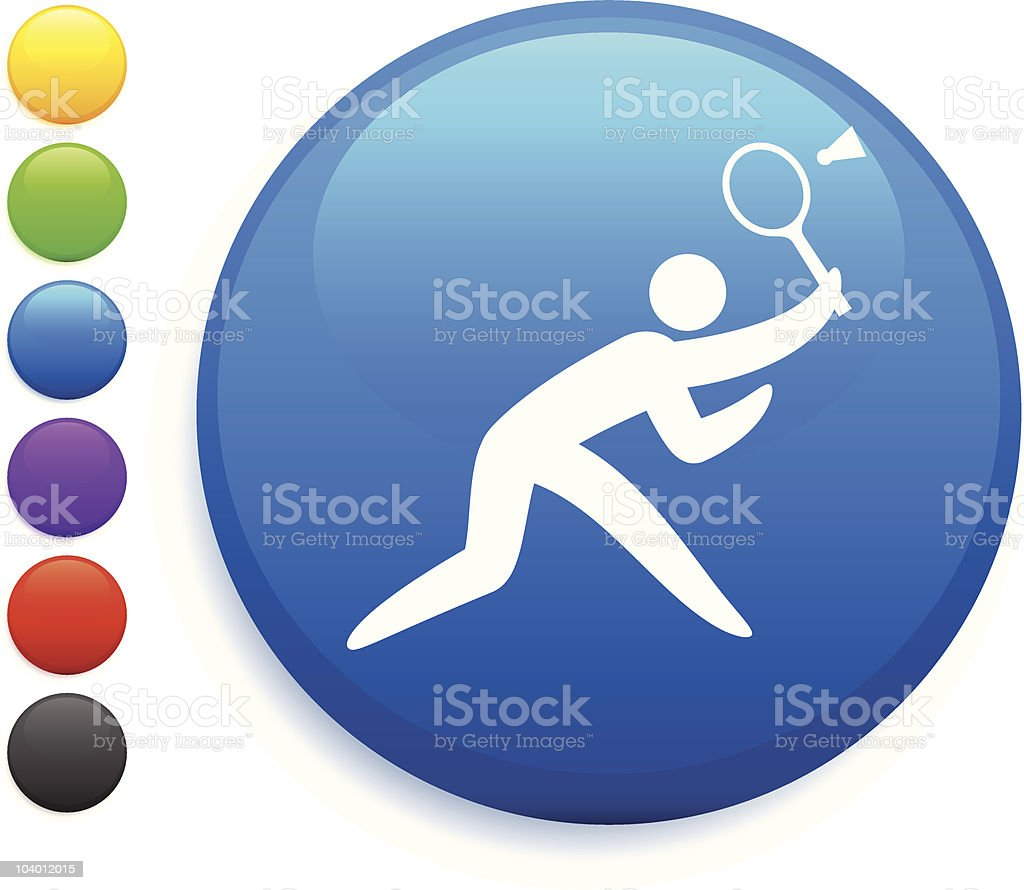 stick figure playing badminton internet button icon royalty-free stock vector art