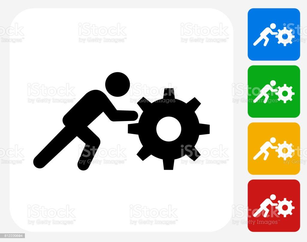 Stick Figure Pushing Gear Icon Flat Graphic Design vector art illustration