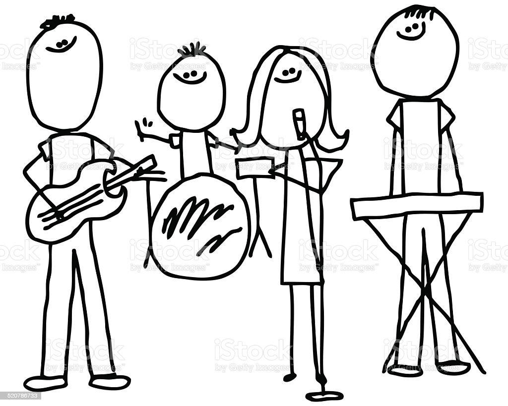 Drawing Lines Band : 스틱피겨 바위산 머리밴드 일러스트 istock