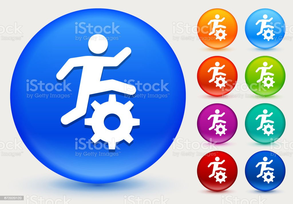 Stick Figure Running Gear Icon on Shiny Color Circle Buttons vector art illustration