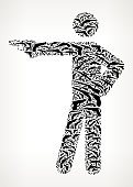 Stick Figure Shooting Gun Black Icon Pattern Background