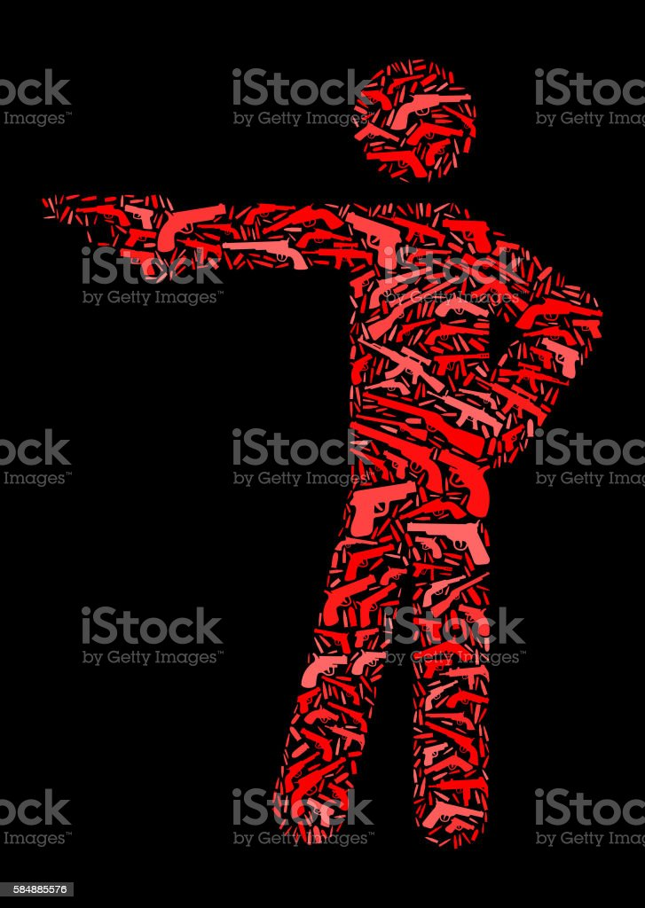 Stick Figure Shooting Gun Icon Pattern Background vector art illustration