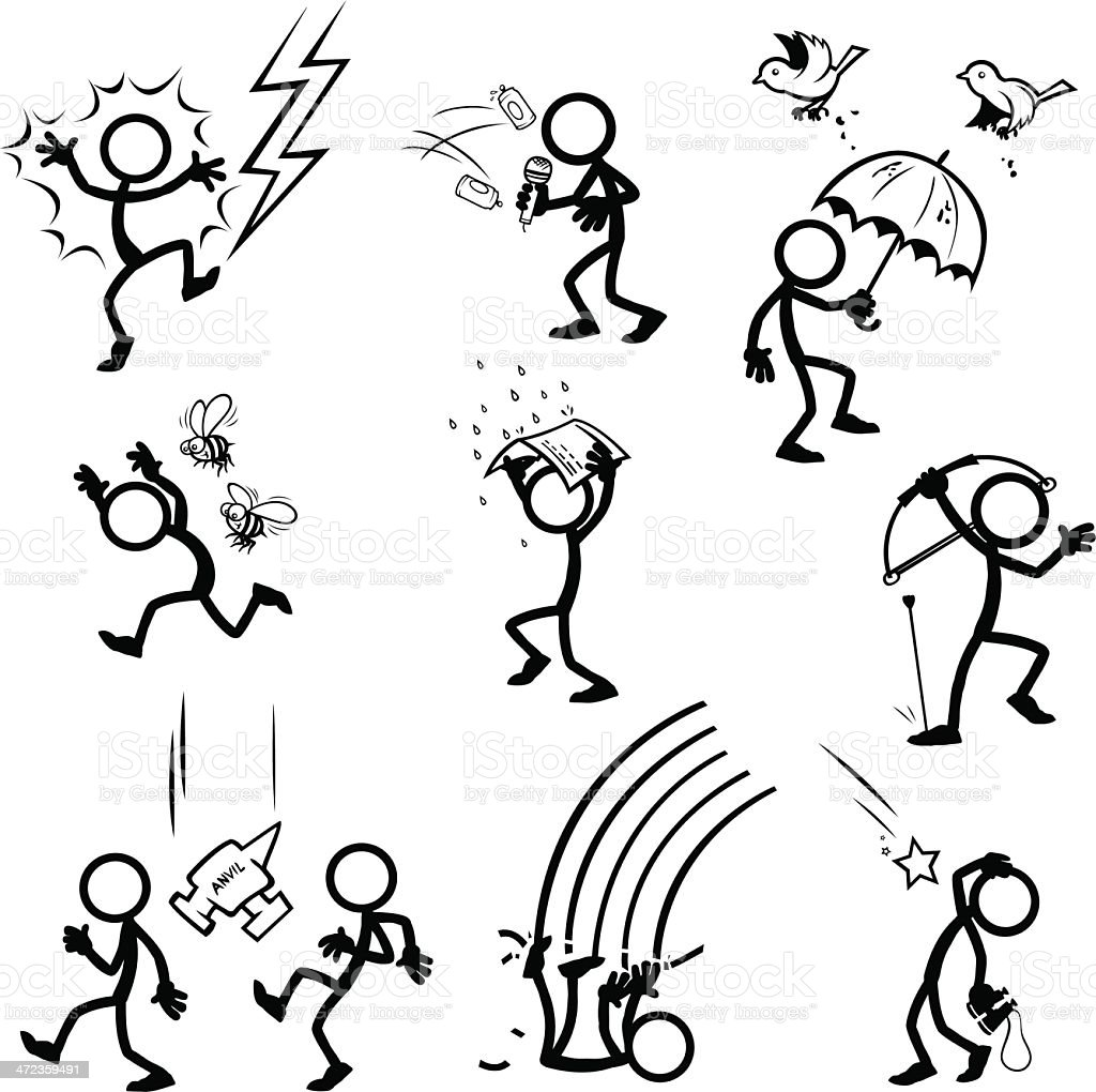 Stick Figure - Things from the sky! vector art illustration