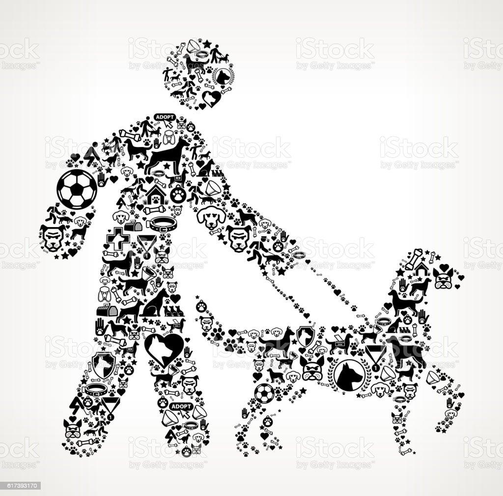 Stick Figure Walking Dog Dog  Canine Pet Black Icon Pattern vector art illustration
