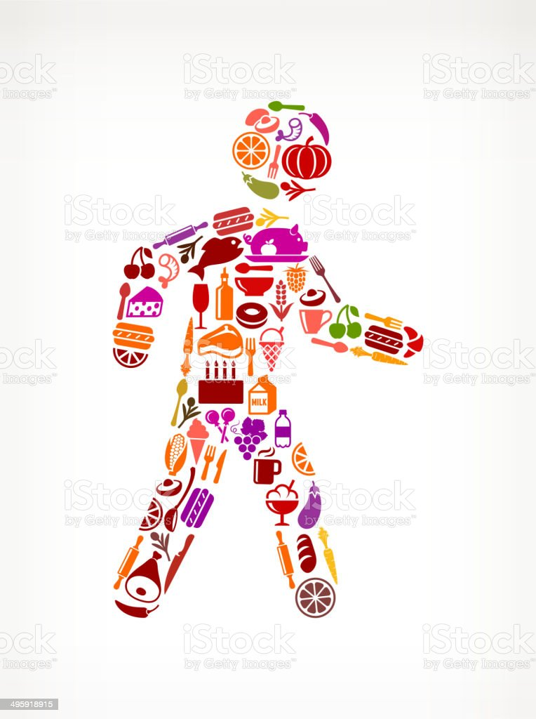Stick Figure Walking on royalty free vector icons Food and Drink. The...