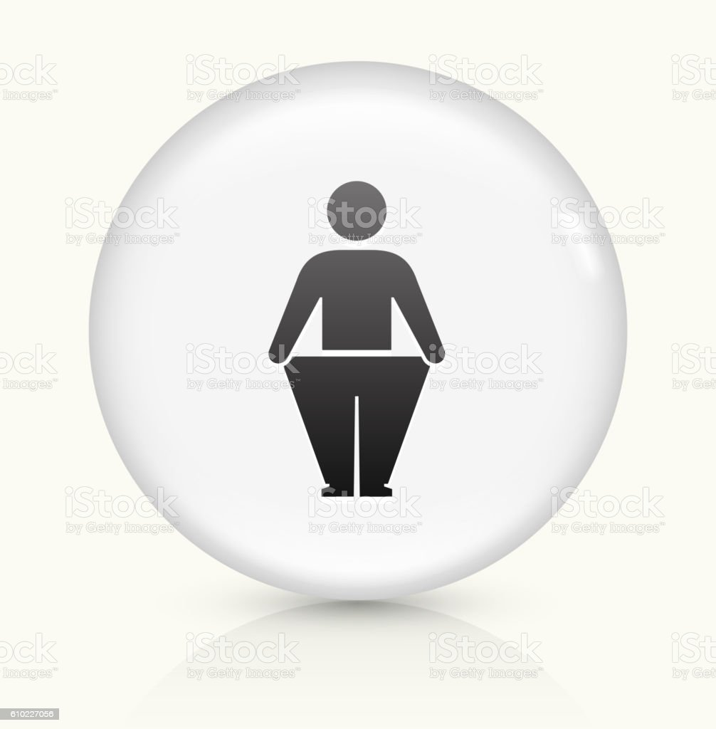 Stick Figure  Weight Loss icon on white round vector button vector art illustration