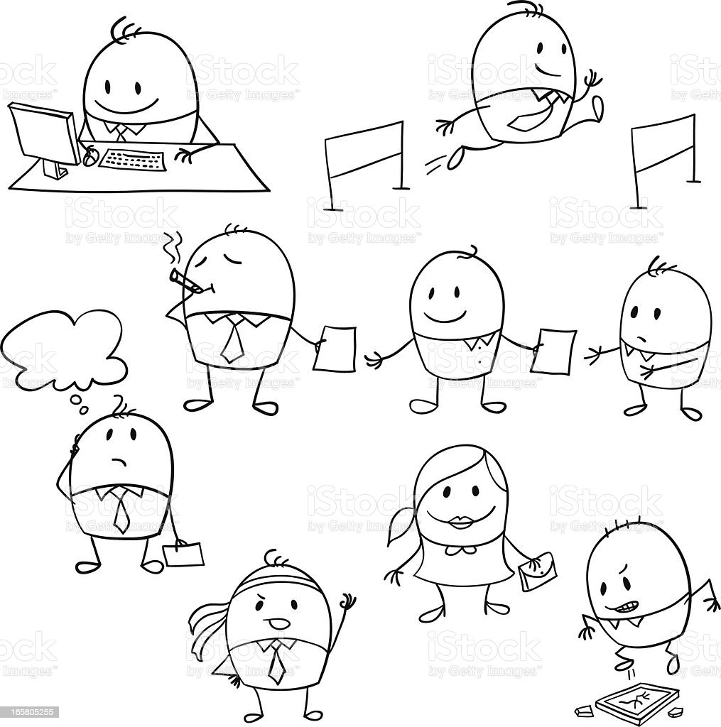 Stick figures of people working in different ways royalty-free stock vector art