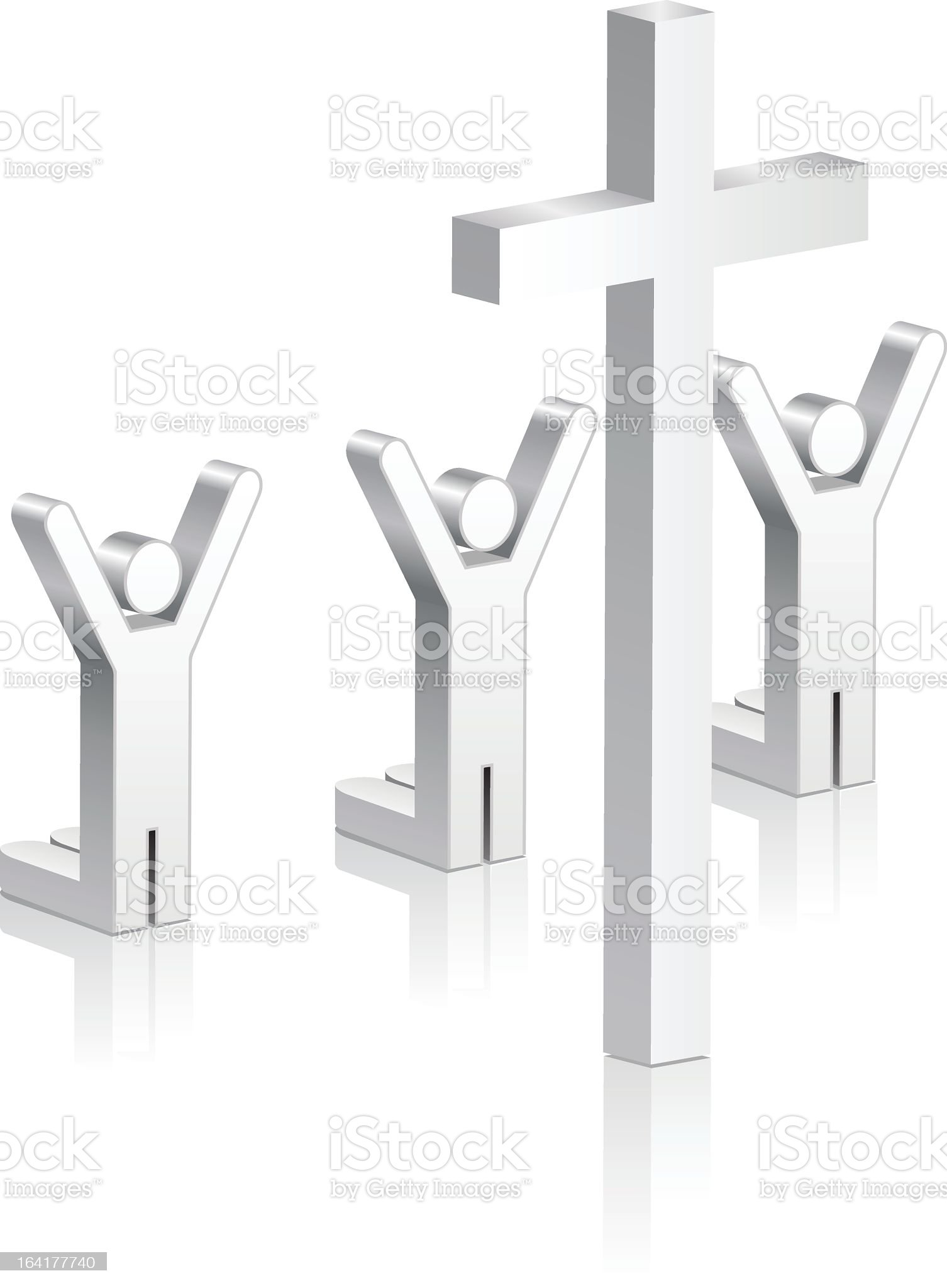 stick figures praying in front of a cross royalty-free stock vector art