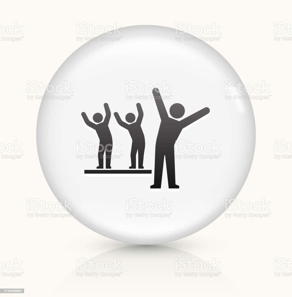 Stick Figures Stretching icon on white round vector button vector art illustration
