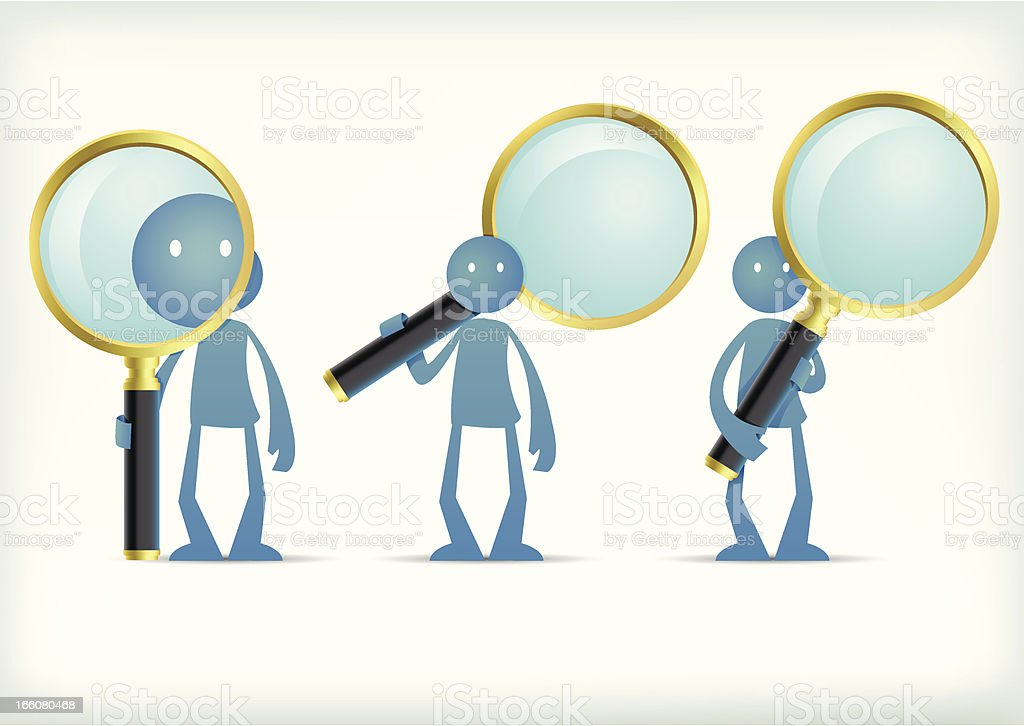 Stick man with magnified glass vector art illustration