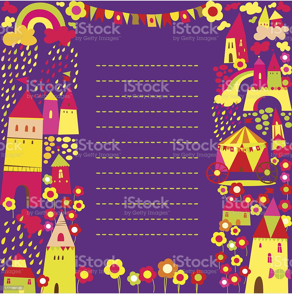 stick note with houses background royalty-free stock vector art