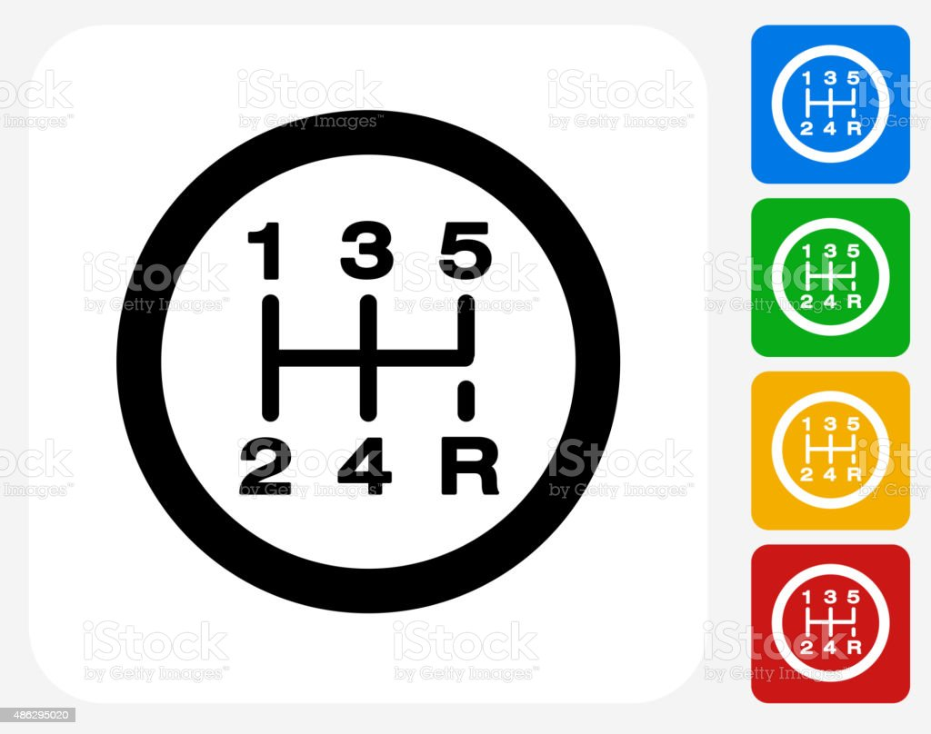 Stick Shift Icon Flat Graphic Design vector art illustration