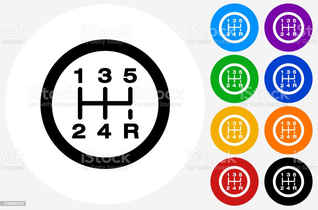 Stick Shift Icon on Flat Color Circle Buttons vector art illustration