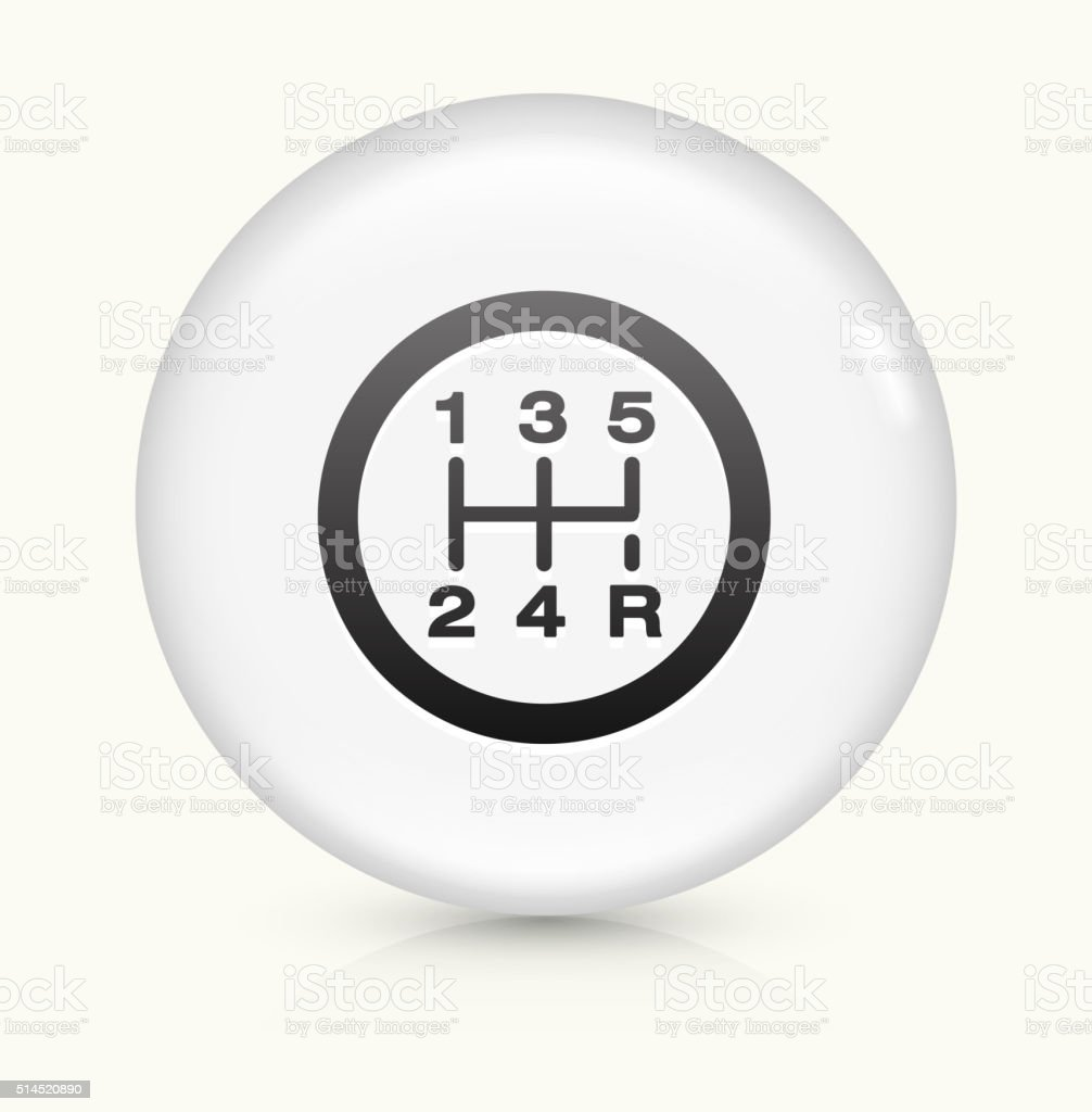 Stick Shift icon on white round vector button vector art illustration