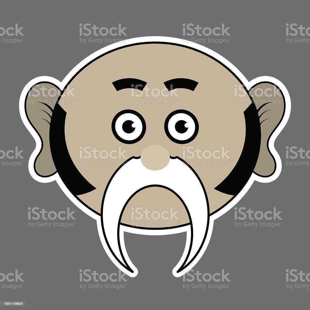 sticker - beige ridiculous man with black mustache vector art illustration