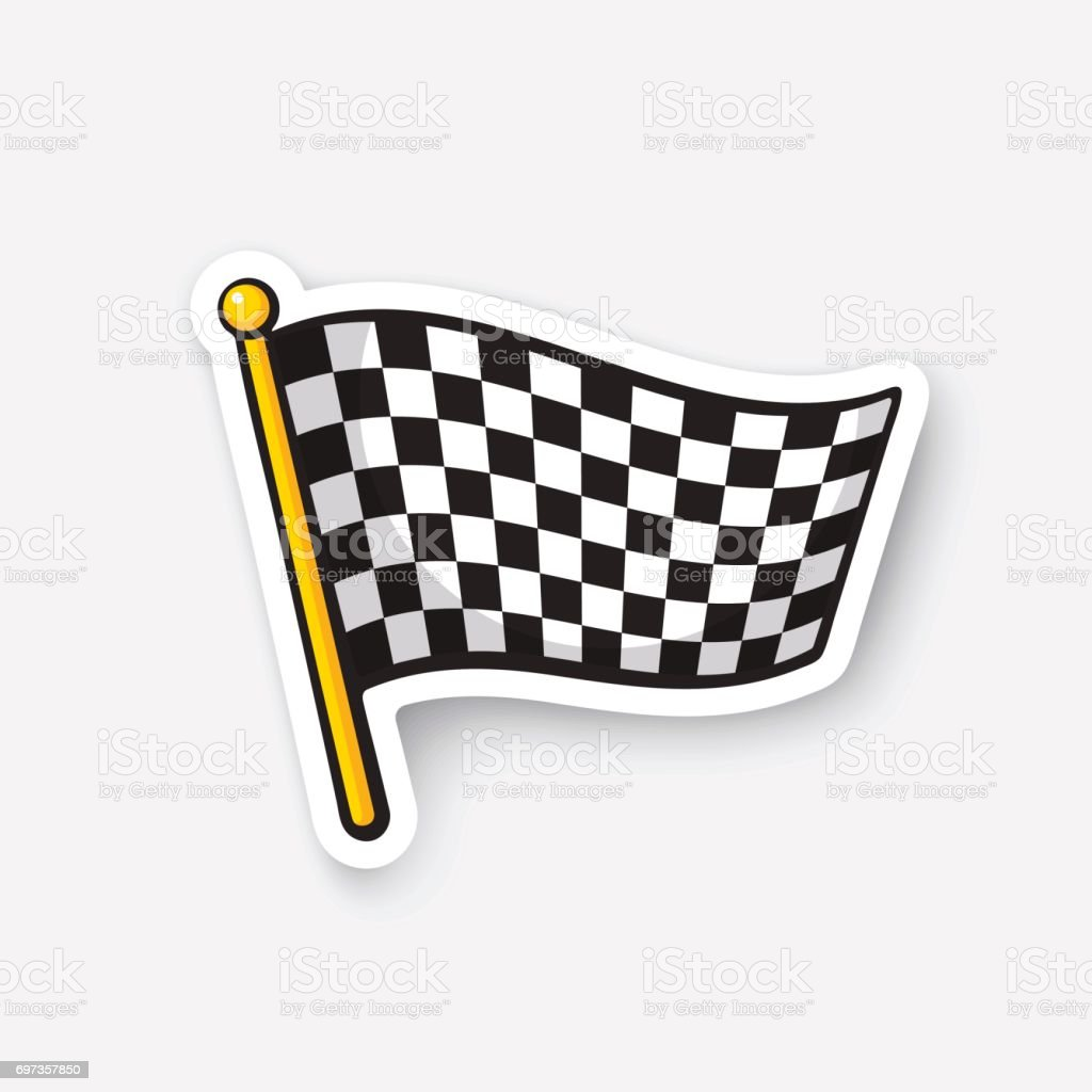 Sticker chequered racing flag on flagstaff vector art illustration