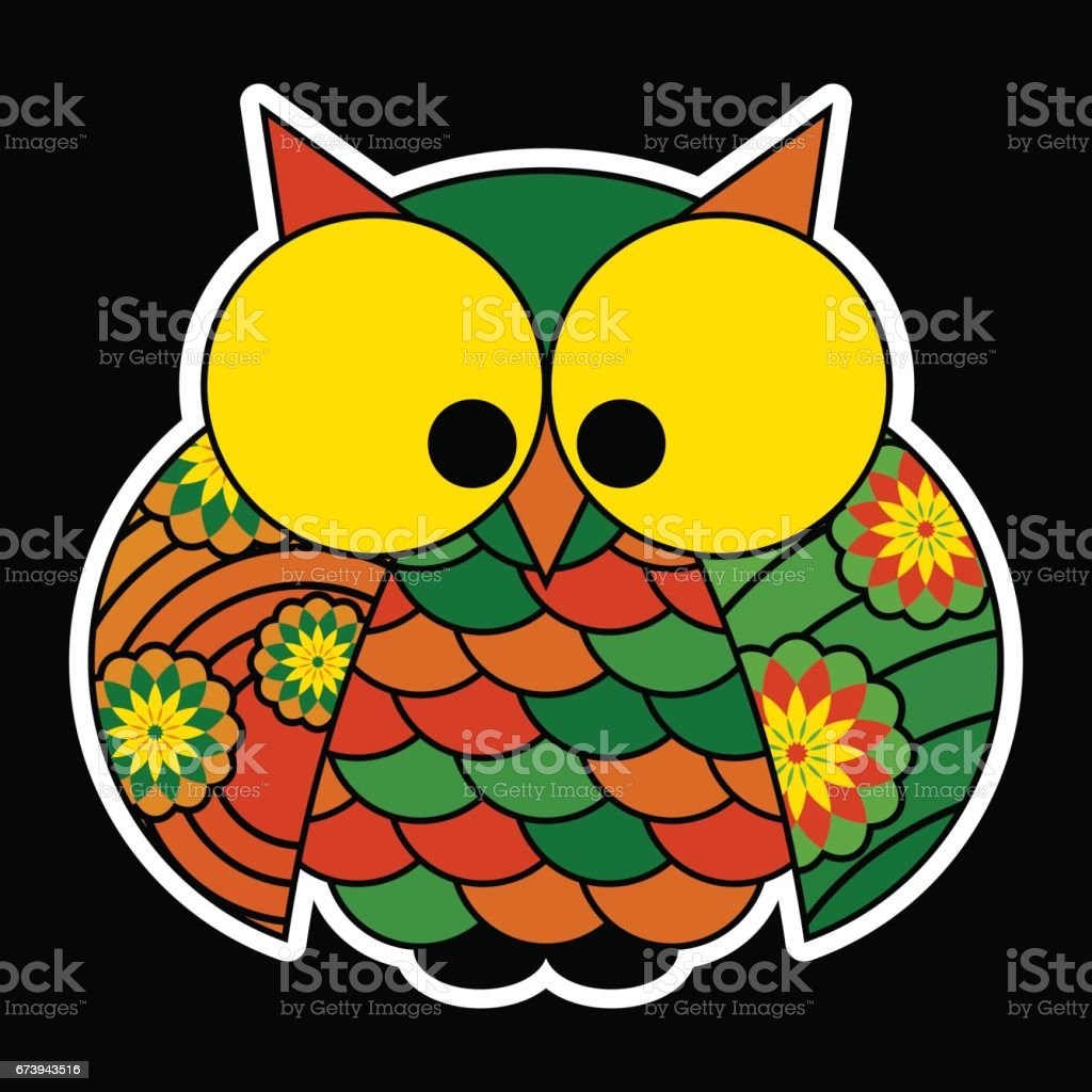 sticker - cute colored owl with big yellow eyes vector art illustration