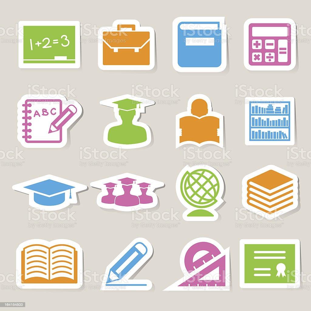 Sticker Education icons set. royalty-free stock vector art
