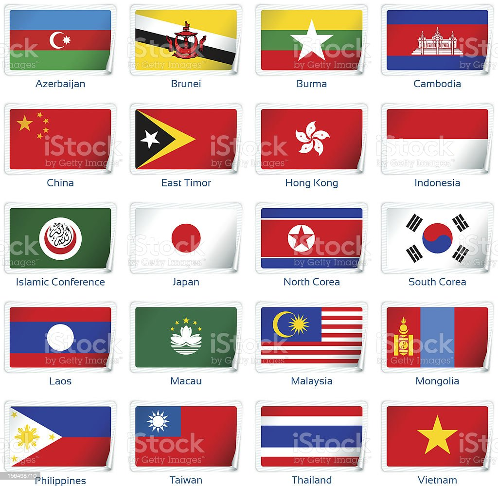 Sticker flags: Eastern Asia royalty-free stock vector art