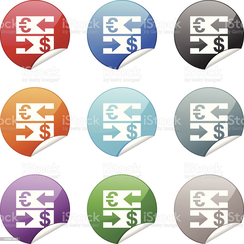 Sticker Icon | Currency Exchange vector art illustration