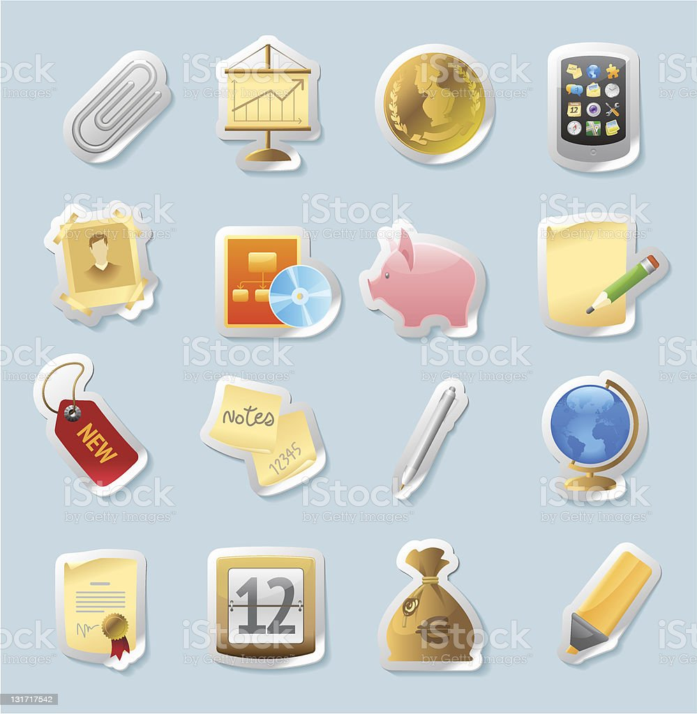 Sticker icons for business and finance royalty-free stock vector art