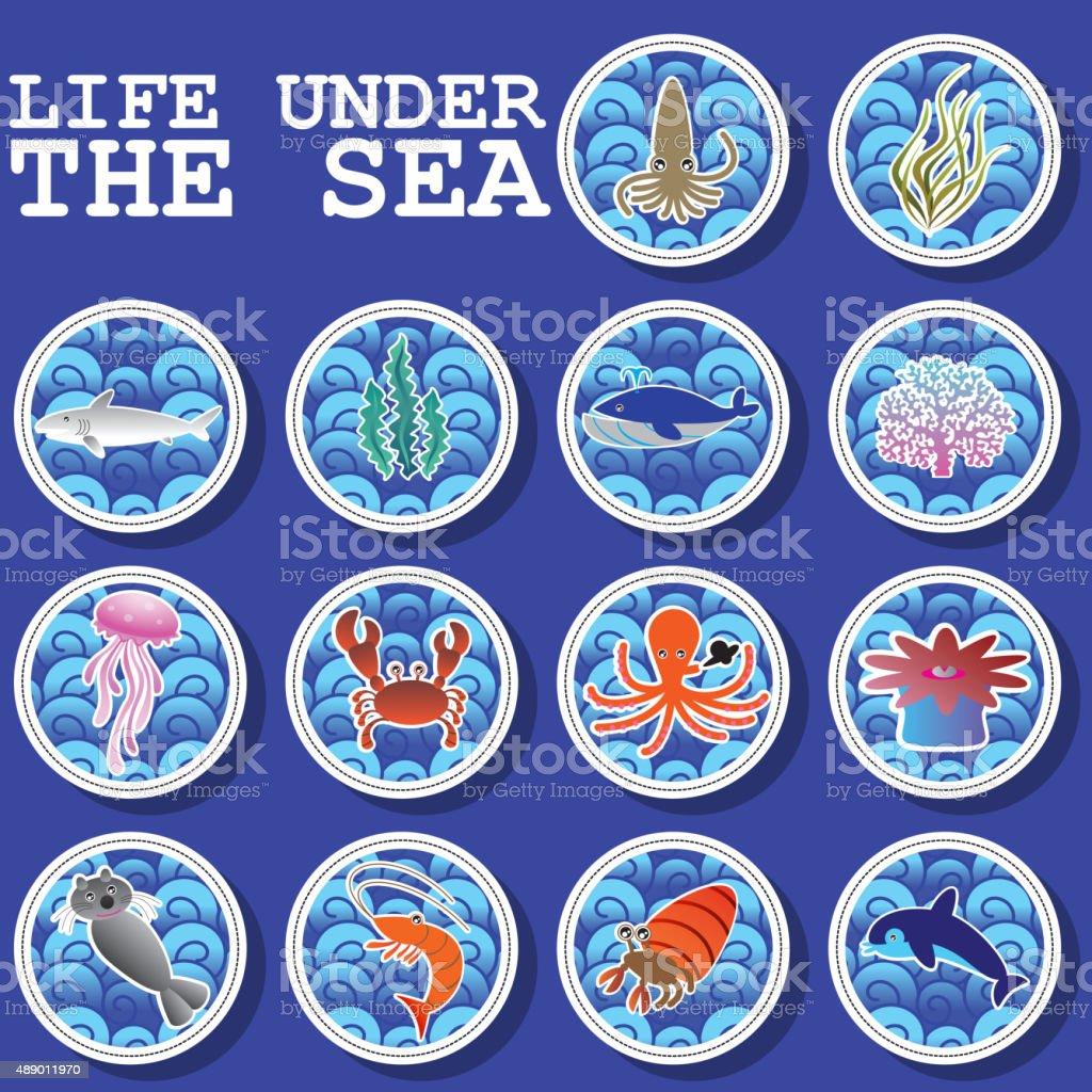 Sticker icons life under the sea vector art illustration