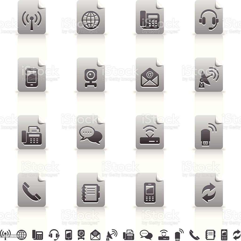 Sticker Icons Set | Communication royalty-free stock vector art