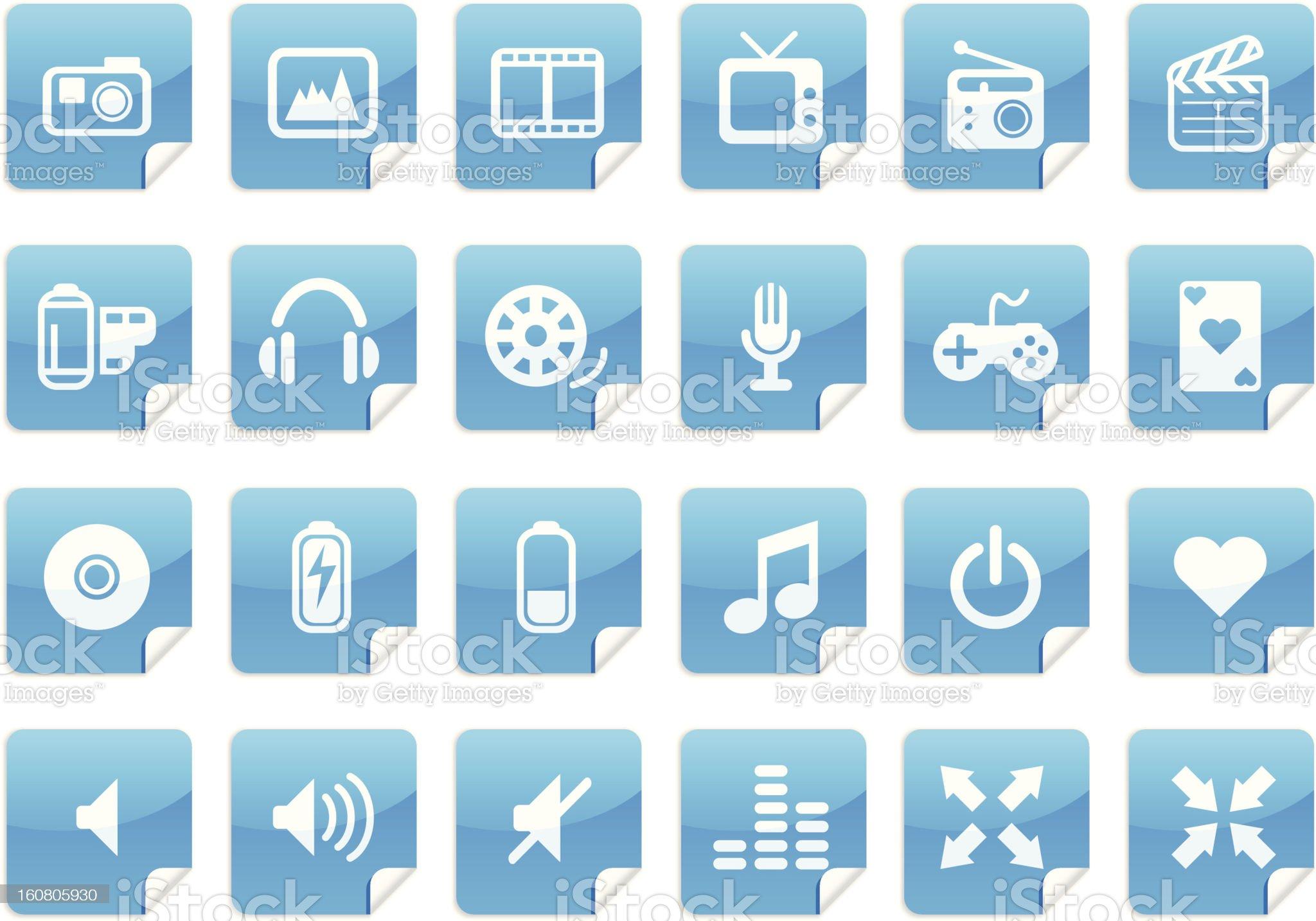 Sticker Multimedia Icons royalty-free stock photo