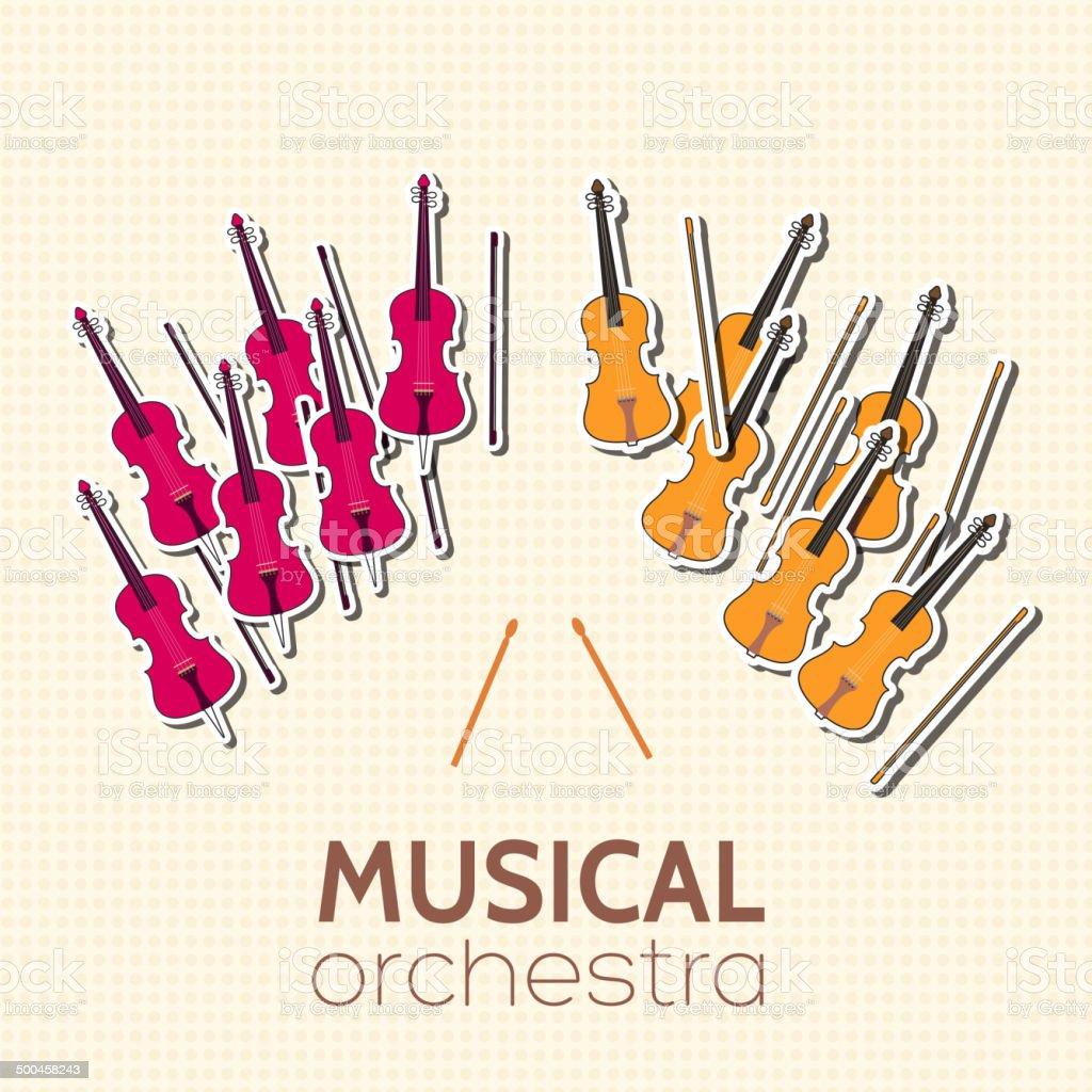 sticker music instruments orchestra background vector art illustration