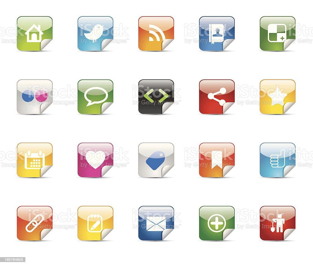 Sticker Shaped Shiny Social Media Icon Set vector art illustration