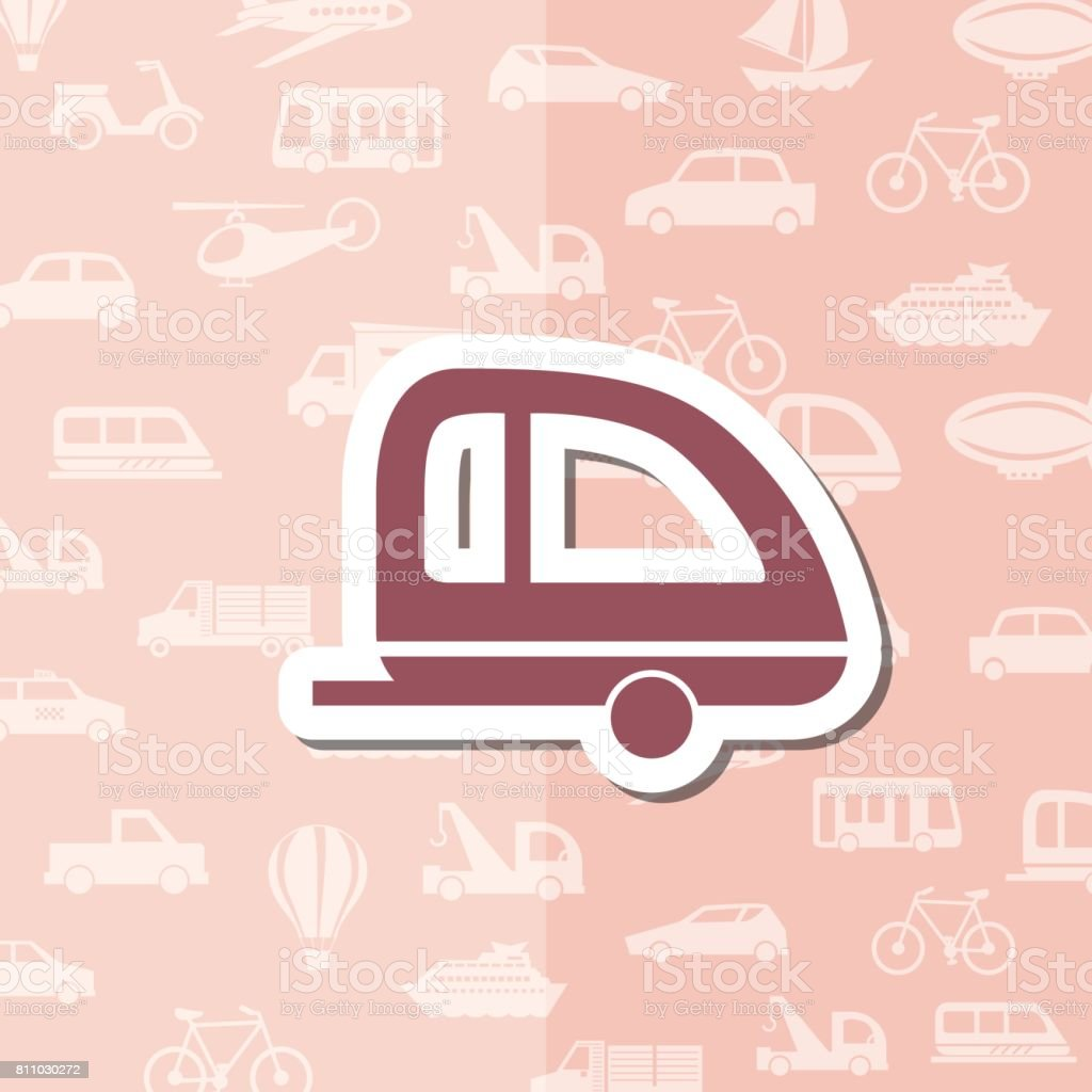 Sticker Style Transportation Icon With Pattern Background vector art illustration