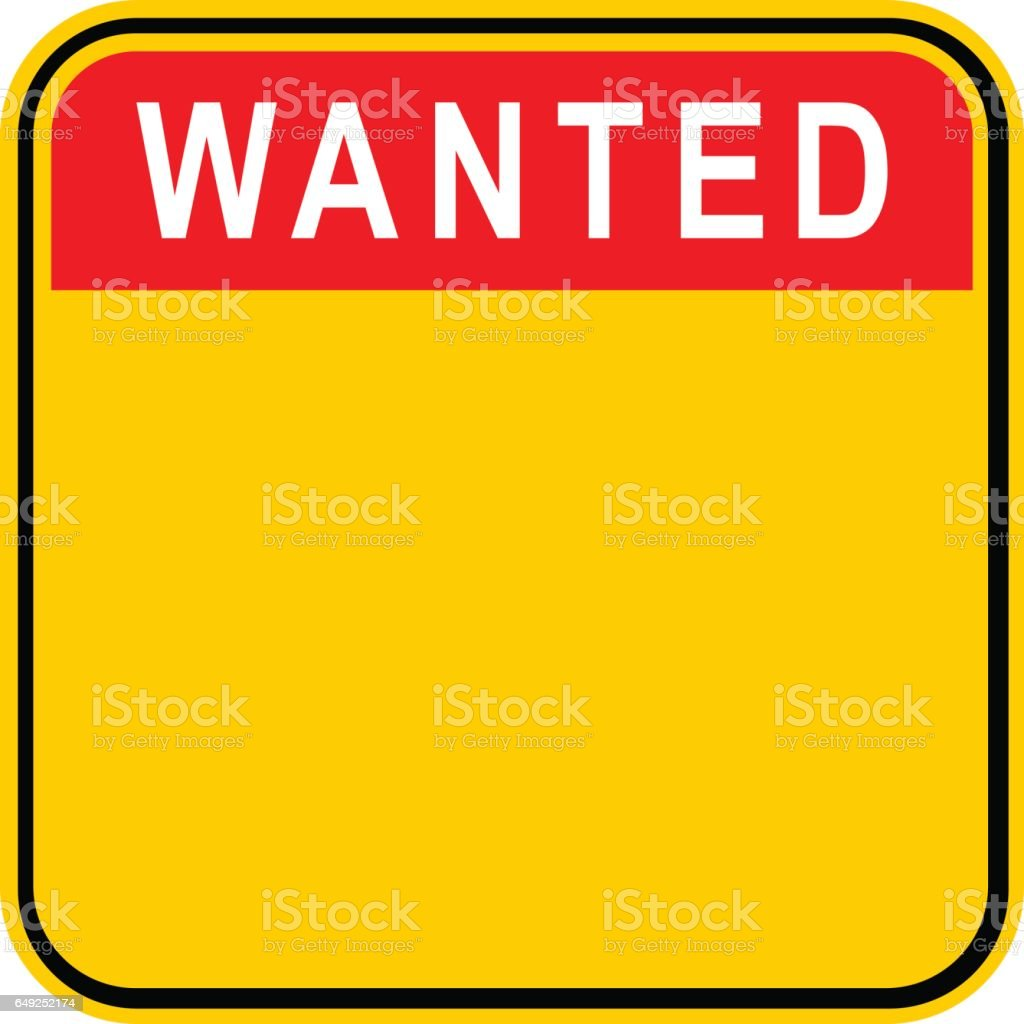Sticker Wanted Safety Sign vector art illustration