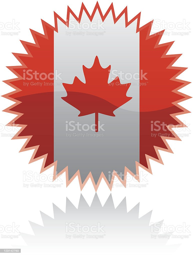 Sticker with Canadian flag royalty-free stock vector art