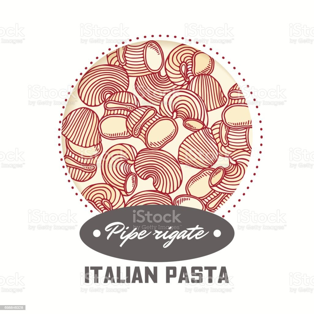 Sticker with hand drawn pasta pipe rigate isolated on white. Template for food package design vector art illustration