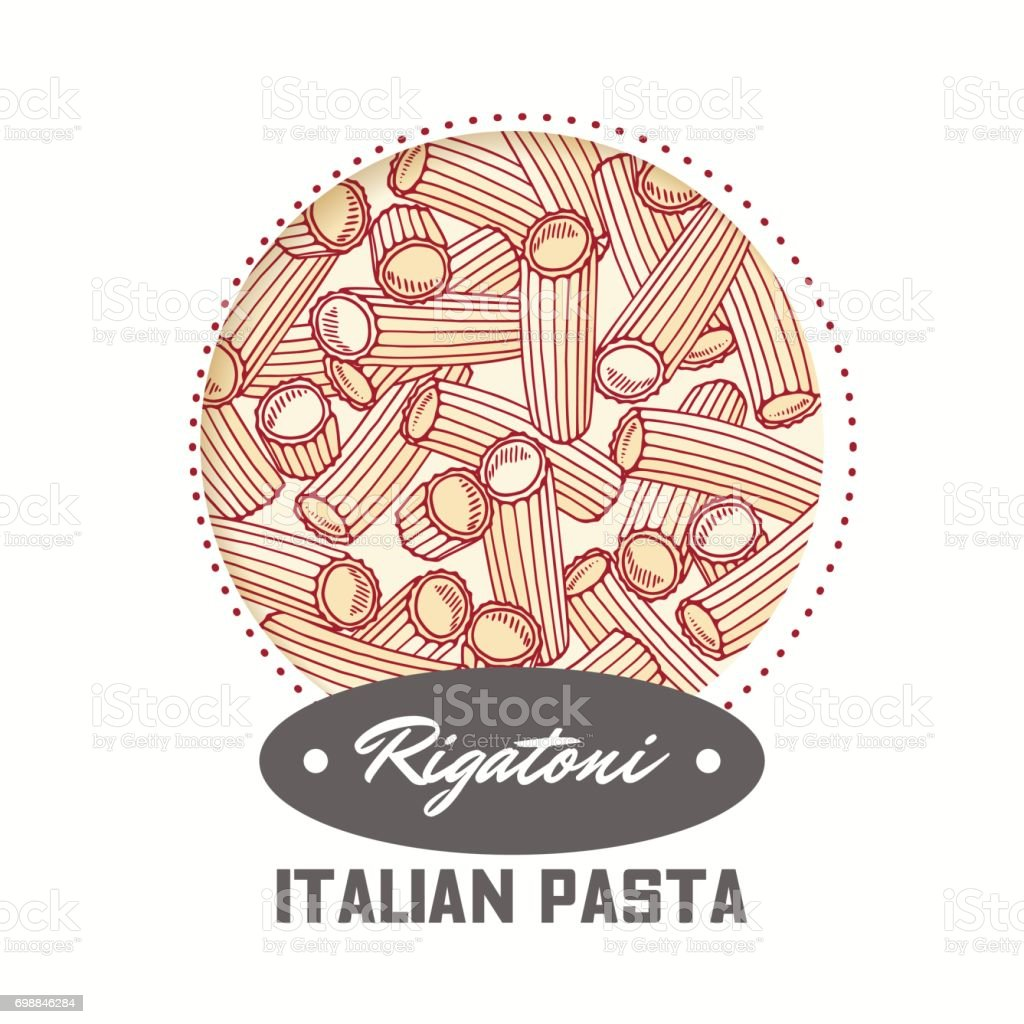Sticker with hand drawn pasta rigatoni isolated on white. Template for food package design vector art illustration