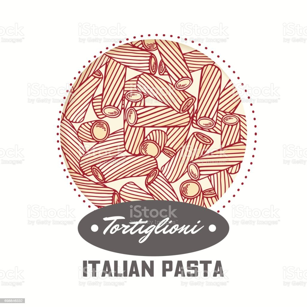 Sticker with hand drawn pasta tortiglioni, tortellini isolated on white. Template for food package design vector art illustration