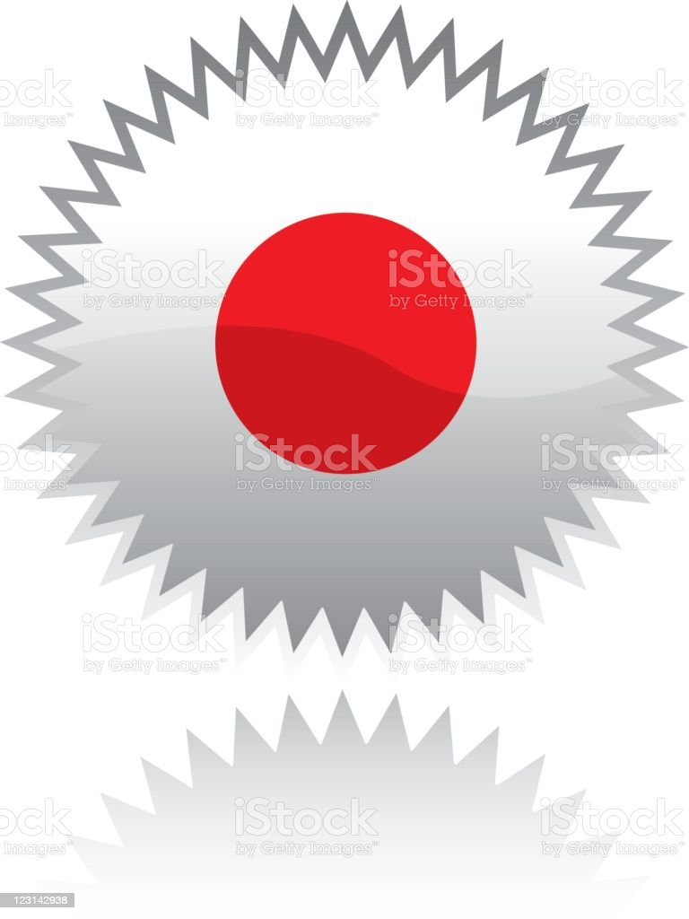 Sticker with Japanese flag royalty-free stock vector art