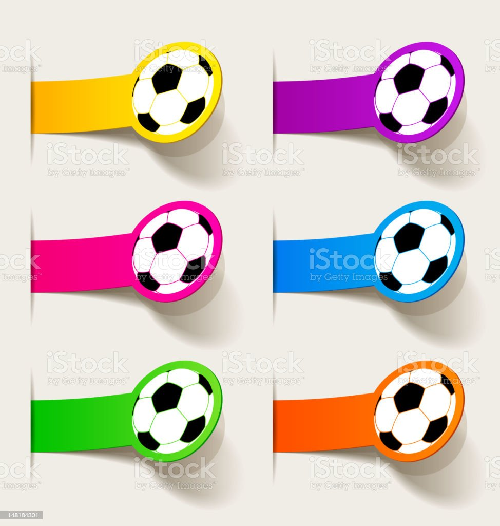 sticker with picture of a soccer ball royalty-free stock vector art